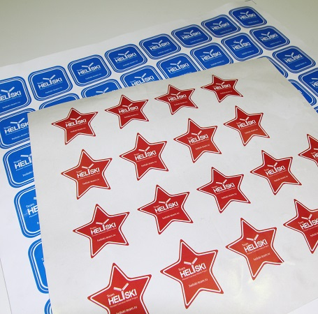 Изготовление фигурных наклеек широкоформатная печать